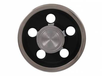 CENTER CAP ASSY, Rally I, Black finish on hub w/ polished outer ring and center cap, OE snap-on style (holes for lug nuts are big enough to allow cap install / removal w/o touching lug nuts, sold each, OE-style repro