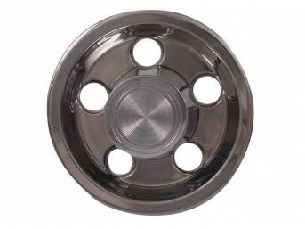 CENTER CAP ASSY, Rally I, Polished finish, OE snap-on style (holes for lug nuts are big enough to allow cap install / removal w/o touching lug nuts, sold each, OE-style repro