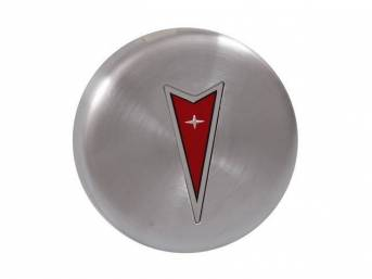 ORNAMENT, Wheel Center, Brushed finish w/ Red arrowhead,
