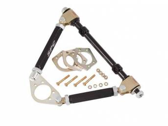 ARM SET, Steering Control, Adjustable, Upper, SPC, LH or RH, Incl flat midsized plate, adjustable sleeves, OE style pivots, (3) 1/4 inch ball joint spacers and hardware, arms allow for plus / minus 3 degrees of camber and caster