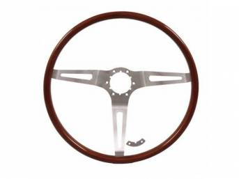 STEERING WHEEL, Dlx Woodgrain 3 Spoke, Rosewood w/ brushed stainless steel spokes, a modern take on the class wheel, 15 inch o.d. w/ 4 inch dish, adapter, contact, center cap and hardware not incl, repro