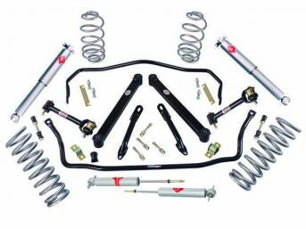 HANDLING KIT, High Performance Suspension, Street Bandit, ** kit now has KYB shocks **, kit incl 1 1/8 inch front and 7/8 inch rear hollow sway bars w/ polyurethane bushings, end links and mounting hardware, a set of 1 inch drop coil springs, tubular brac