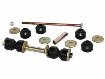 END LINK KIT, Sway Bar, Polyurethane, For use w/ OEM sway bars, (22) Incl bolts, nuts, black rubber bushings, retainers and spacers, Does both sides, repro