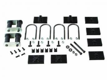 MOUNT KIT, LEAF SPRING MASTER, multi-leaf, US-Made by Eaton Detroit Spring, incl 2 front eye bolts, 4 T-bolts, 6 cage nuts, 4 U-bolts, 2 shackles, 4 urethane pads to mount using spring plate or 4 urethane pads to mount w/o spring plate, pads have sleeves
