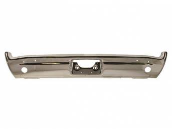BUMPER, Rear, Chrome, W/ back up light holes, Repro   ** Originally listed under Group 7831 in Pontiac Parts Guides **