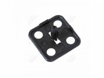 RETAINER, Hood Insulation, 1 1/4 Inch square push-in retainer w/ small hole in each corner around outer edge, black plastic, repro