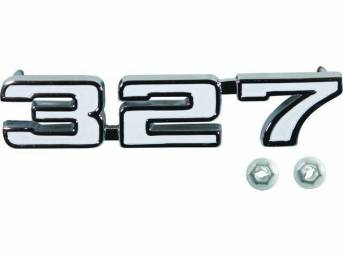 EMBLEM, Front Fender, *327*, chrome plated die-cast metal