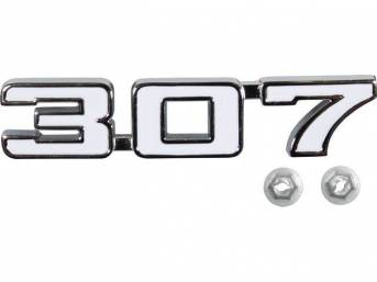 EMBLEM, Front Fender, *307*, chrome plated die-cast metal