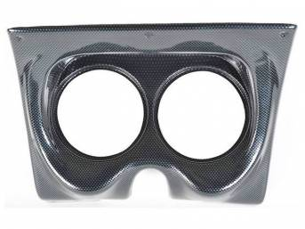 HOUSING, Instrument Carrier, custom gauge panel w/ carbon fiber face, mounts in stock location, features two gauge openings - mounts two 5 inch gauges (common size for speedometer and tachometer), gauges not incl, molded UV resistant ABS-plastic, Classic