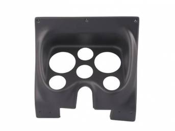 HOUSING, Instrument Carrier, custom gauge panel w/ matte black face, mounts in stock location, features six gauge openings - mounts two 3 3/8 inch gauges (common size for speedometer and tachometer) and four 2 1/16 inch gauges (gauges not incl), molded UV