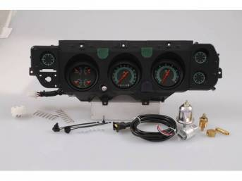 GAUGE KIT, Classic Instruments, G-Stock Series (OE style appearance, gauge has orange pointer w/ green markings on a dark gray face), incl 3 inch speedometer, 3 inch tachometer and 3 inch quad gauge w/ fuel, oil, temperature and volts gauges, filters for
