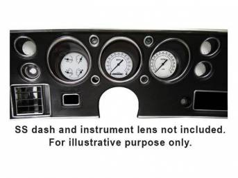 GAUGE KIT, Classic Instruments, Classic White Series (non-OE style appearance, gauge has black pointer w/ black markings on a white face), incl 3 inch speedometer, tachometer and quad gauge w/ fuel, oil, temperature and volts gauges, filters for turn sign