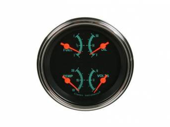QUAD GAUGE, Classic Instruments, G-Stock, incl fuel 240-33 ohm, coolant temperature, oil pressure and voltage in one 3 3/8 inch diameter gauge w/ chrome bezel, gauge has orange pointer w/ green markings on a dark gray face