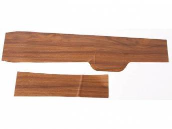 APPLIQUE / INSERT KIT, Console, vinyl wood grain finish overlay, (2) incl main body and glove box inserts, repro