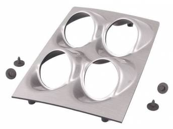BEZEL, Console Gauge, custom gauge panel w/ brushed aluminum face, takes the place of OE-style rectangular gauges pod (NPD p/n C-9746-1A / -1B), features four angled gauge openings - mounts 2 1/16 inch gauges, gauges not incl, Classic Dash / Classic Thund