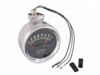 TACHOMETER, *KNEEKNOCKER*, 7000 rpm range w/ 6200 redline,