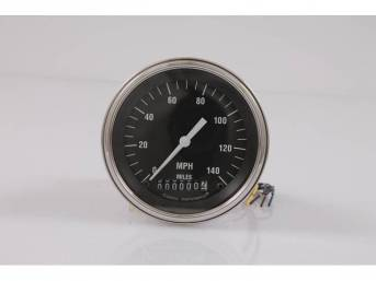GAUGE, Speedometer, Classic Instruments, Hot Rod Series (gauge has white pointer w/ white markings on a black face), 3 3/8 inch diameter, 0-140 MPH reading w/ odometer
