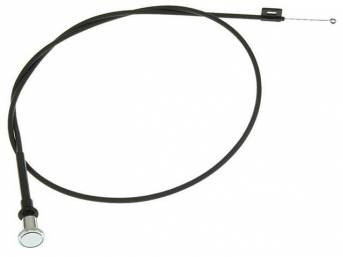 CABLE AND KNOB ASSY, Air Duct Control, *Z* style end, incl correct chrome knob, 14 inch length, Repro