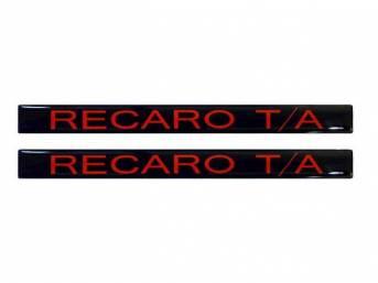 DECAL, Door Handle Insert, *RECARO T/A*, Black w/