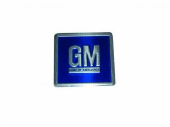 PLATE, GM Mark of Excellence, metal, blue w/