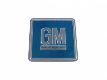 PLATE, GM Mark of Excellence, metal, aqua w/