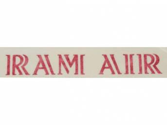 DECAL, Hood Scoop, *RAM AIR*, red, repro