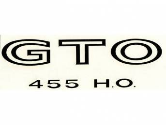 DECAL, Fender / Quarter Panel, *GTO 455 HO*, black, repro  ** Replaces original GM p/n 9790503 **