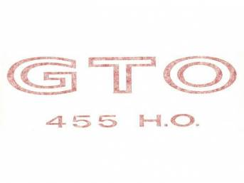 DECAL, Fender / Quarter Panel, *GTO 455 HO*, red, repro  ** Replaces original GM p/n 9790504 **