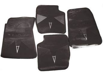 FLOOR MATS, Black, OE Style w/ correct features incl a silver embossed *Arrowhead* emblem w/ *PONTIAC* lettering on the front and rear mats, (4), repro