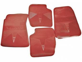 FLOOR MATS, Red, OE Style w/ correct features incl a silver embossed *Arrowhead* emblem w/ *PONTIAC* lettering on the front and rear mats, (4), repro