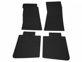 FLOOR MATS, Rubber, OE Style Bow Tie, Black, (4) Die Cut To Fit Original Floorpan Contours, Incl Embossed Bow Tie Logo and OE Style Carpet Grips, Repro