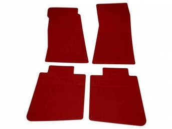 FLOOR MATS, Rubber, OE Style Bow Tie, Red, (4) Die Cut To Fit Original Floorpan Contours, Incl Embossed Bow Tie Logo and OE Style Carpet Grips, Repro