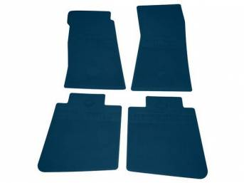 FLOOR MATS, Rubber, OE Style Bow Tie, Medium Blue, (4) Die Cut To Fit Original Floorpan Contours, Incl Embossed Bow Tie Logo and OE Style Carpet Grips, Repro