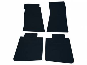 FLOOR MATS, Rubber, OE Style Bow Tie, Dark Blue, (4) Die Cut To Fit Original Floorpan Contours, Incl Embossed Bow Tie Logo and OE Style Carpet Grips, Repro