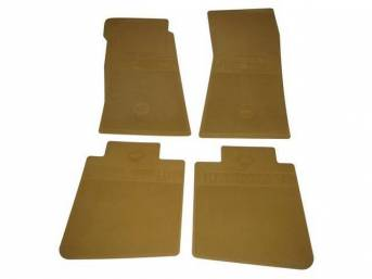 FLOOR MATS, Rubber, OE Style Bow Tie, Gold, (4) Die Cut To Fit Original Floorpan Contours, Incl Embossed Bow Tie Logo and OE Style Carpet Grips, Repro