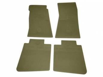FLOOR MATS, Rubber, OE Style Bow Tie, Ivy Gold, (4) Die Cut To Fit Original Floorpan Contours, Incl Embossed Bow Tie Logo and OE Style Carpet Grips, Repro