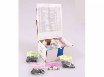 HARDWARE KIT, Master Body, correct fasteners to assemble vehicle sheetmetal in one kit at a discount over purchasing individual smaller kits, (423) incl OE style fasteners w/ correct color and markings
