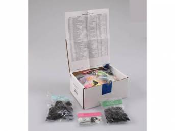 HARDWARE KIT, Master Body, correct fasteners to assemble vehicle sheetmetal in one kit at a discount over purchasing individual smaller kits, (417) incl OE style fasteners w/ correct color and markings