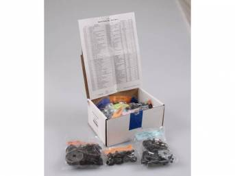 HARDWARE KIT, Master Body, correct fasteners to assemble vehicle sheetmetal in one kit at a discount over purchasing individual smaller kits, (431) incl OE style fasteners w/ correct color and markings