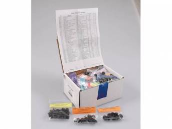 HARDWARE KIT, Master Body, correct fasteners to assemble vehicle sheetmetal in one kit at a discount over purchasing individual smaller kits, (406) incl OE style fasteners w/ correct color and markings