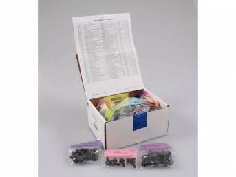 HARDWARE KIT, Master Body, correct fasteners to assemble vehicle sheetmetal in one kit at a discount over purchasing individual smaller kits, (400) incl OE style fasteners w/ correct color and markings