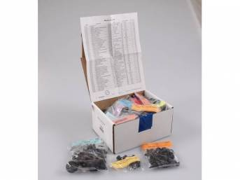 HARDWARE KIT, Master Body, correct fasteners to assemble vehicle sheetmetal in one kit at a discount over purchasing individual smaller kits, (528) incl OE style fasteners w/ correct color and markings
