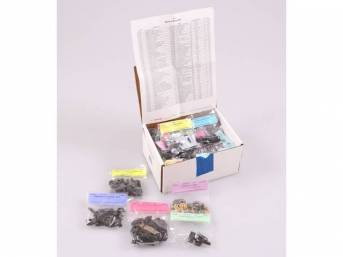 HARDWARE KIT, Master Body, correct fasteners to assemble vehicle sheetmetal in one kit at a discount over purchasing individual smaller kits, (533) incl OE style fasteners w/ correct color and markings