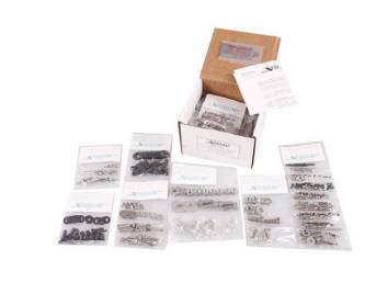 MASTER BODY HARDWARE KIT, Stainless, features indented hex head bolts (original style w/o markings) w/ black finish (where applicable) for front body mount, brake and fuel line, bumpers, bumper mounting, door hinges, door jambs, firewall, head light and f