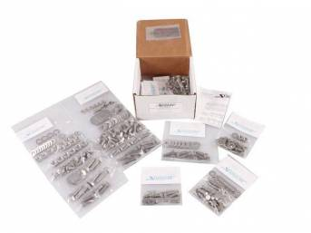 MASTER BODY HARDWARE KIT, Stainless, features indented hex head bolts (original style w/o markings) for front body mount, brake and fuel line, bumpers, bumper mounting, door hinges, door jambs, firewall, head light and front turn signals, heater and A/C c