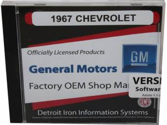 SHOP MANUAL ON CD, 1967 Chevrolet, Incl 1967 Chevrolet chassis, overhaul and Fisher body manuals, 1938-68 and 1964-72 Chevrolet parts manuals