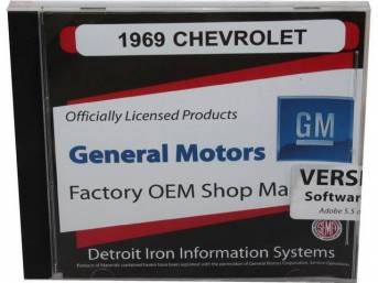 SHOP MANUAL ON CD, 1969 Chevrolet, Incl 1969 Chevrolet chassis, overhaul and Fisher body manuals, 1964-72 Chevrolet parts manuals