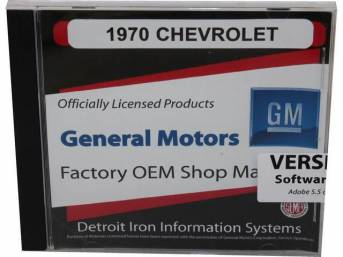 SHOP MANUAL ON CD, 1970 Chevrolet, Incl 1970 Chevrolet chassis, overhaul and Fisher body manuals, 1964-72 Chevrolet parts manuals