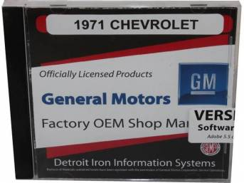 SHOP MANUAL ON CD, 1971 Chevrolet, Incl 1971 Chevrolet chassis, overhaul and Fisher body manuals, 1964-72 Chevrolet parts manuals