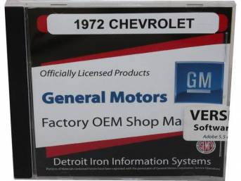 SHOP MANUAL ON CD, 1972 Chevrolet, Incl 1972 Chevrolet chassis, overhaul and Fisher body manuals, 1964-72 Chevrolet parts manuals